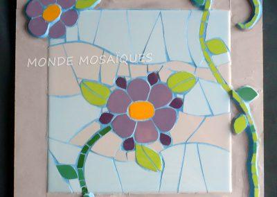 Flor cuadro mosaico con azulejos