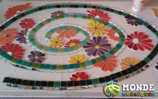 espiral mosaico flores