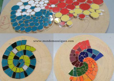 Espirales con azulejos sobre mdf