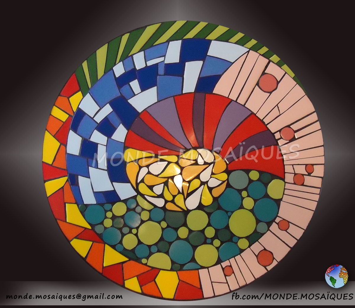 azulejos, espiral, mosaico, exterior