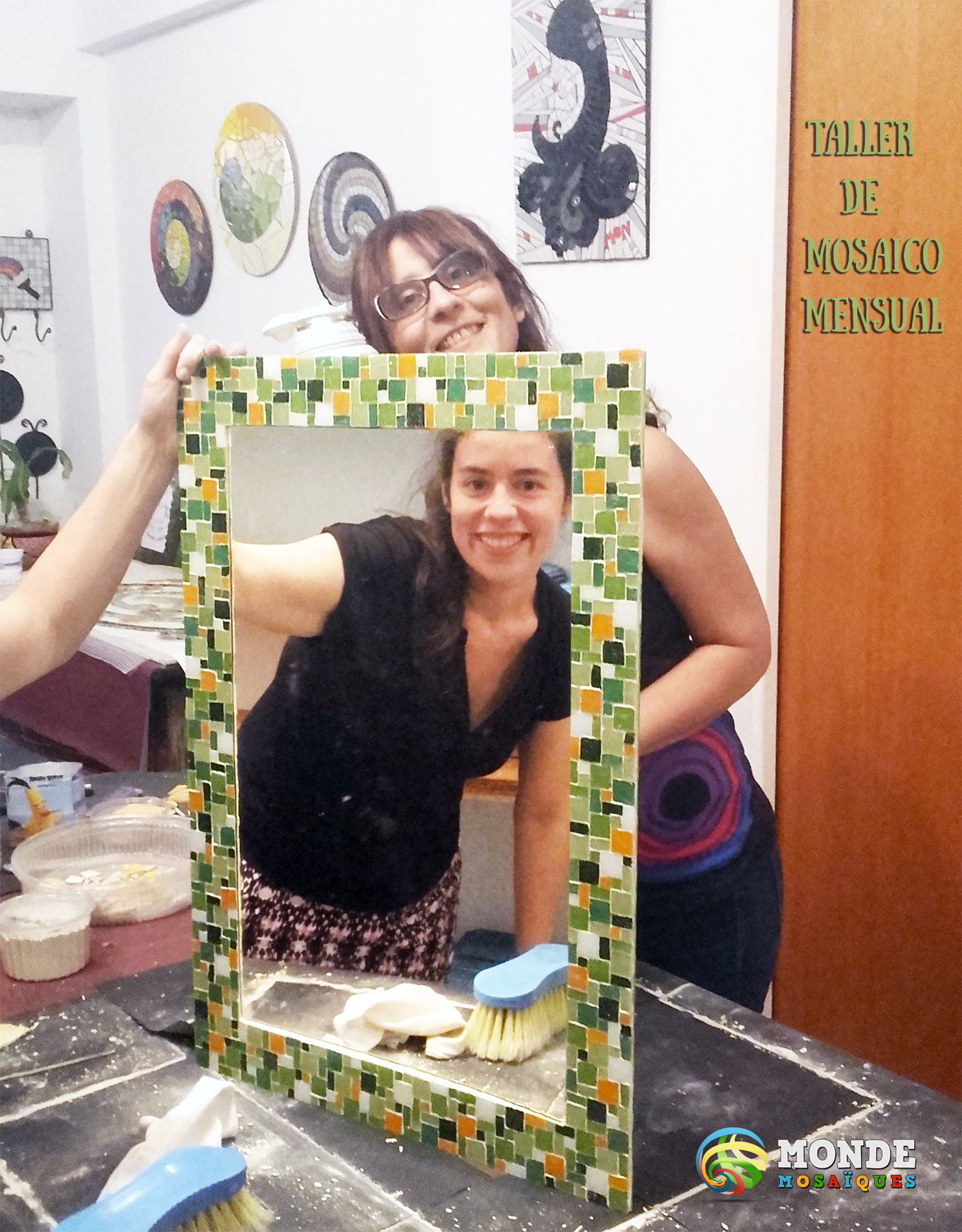 espejo, venecitas, mosaico, taller