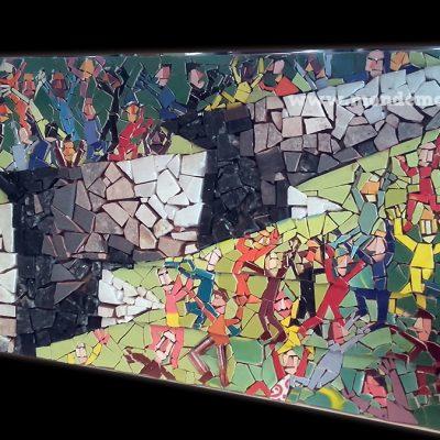 azulejos piedra mosaico sobre mdf