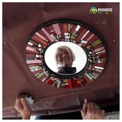 vidrios rojos espejo mosaico