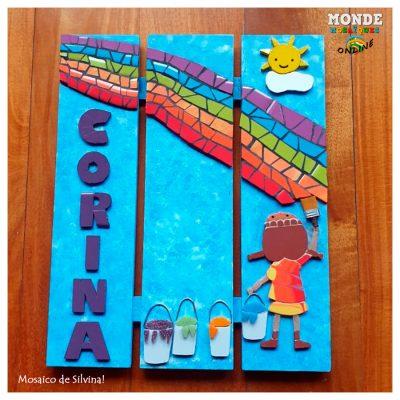 arcoiris en mosaico azulejos pintura niña